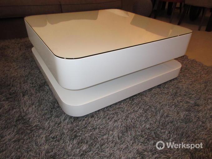 Hoogglans Witte Salontafel Met Glasplaat.Olinova Exclusieve Hoogglans Wit Salontafel Met Glasplaat